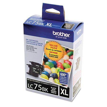 Brother LC75 Innobella High Yield Ink Cartridge, Black (600 Page Yield, 2 pk.) (Ink Cartridges Brother Lc 75)