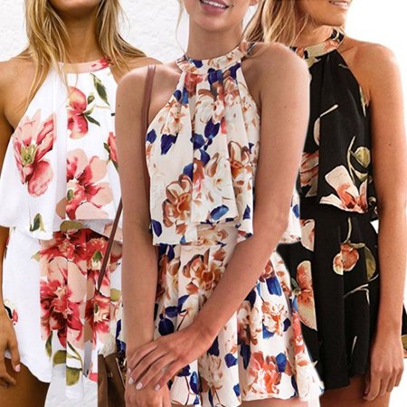 Women Casual Outfits Halter Sleeveless Floral Chiffon Tops and Shorts Set](Outfits Womens)