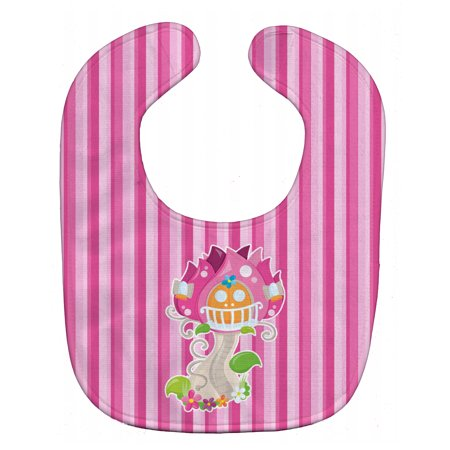 Fairy House Pink Stripes Baby Bib BB6907BIB