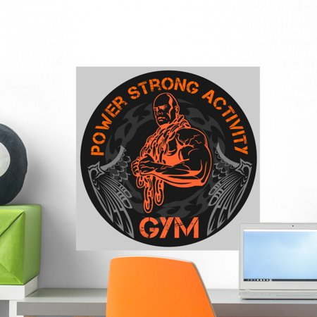 Gym Bodybuilding Vector Emblem Wall Decal By Wallmonkeys Peel And Stick Graphic  18 In H X 18 In W  Wm130959