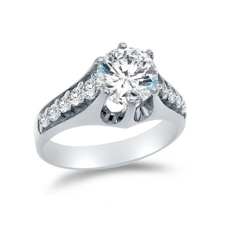 Solid 14k White Gold Round Cut Wedding Engagement Ring with Side Stones, CZ Cubic Zirconia (3.25 ct.) , Size 8.5