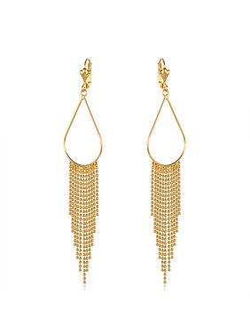 18k Gold Overlay Teardrop Hoop Earrings with Beeded Chandelier Drop