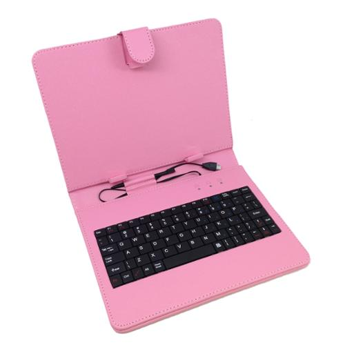"7"" Micro USB Keyboard Folio- Pink"
