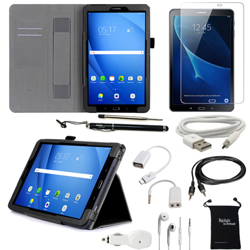 Galaxy Tab A 10.1 Case and Accessories - DigitalsOnDemand 10-Item Kit for Samsung Tab A 10.1 T580 - Leather Cover, Screen Protector, Stylus, Charger, Earphone, OTG (will Not Fit Tab A 10.1 with S Pen)