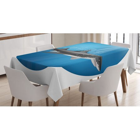 Sea Animal Decor Tablecloth, Shark in Sea with Sun Rays in Circle Aquatic Underwater Creature Home Decor, Rectangular Table Cover for Dining Room Kitchen, 52 X 70 Inches, Blue Grey, - Circle The Sun
