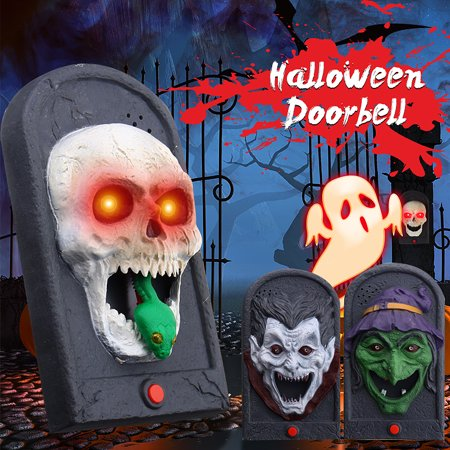 Halloween Decorations Animated Doorbell with Scary Sound and Light Up Battery Powered Scary Decorations for Door, Doorbell Sound Trick Toy Skull/Vampire/Witch Prop](Door Props)