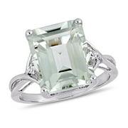 Miabella 5 5/8 CT TGW Emerald Cut Green Amethyst and White Topaz Twist Ring in Sterling Silver