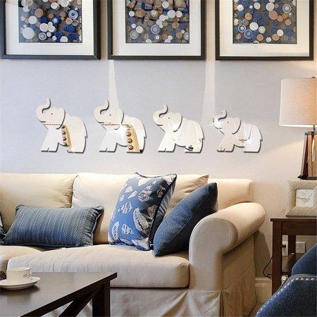 Mosunx 4pcs Elephant Mirror Wall Sticker Decor Art DIY Home Decal Mural New