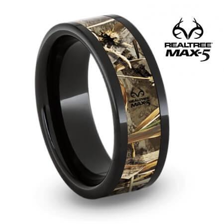 Authentic Realtree Max5 Camo Ring, Black Ceramic Wedding ...