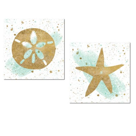 Lovely Nautical Gold Splatter and Teal Watercolor-Style Starfish and Sand Dollar Ocean