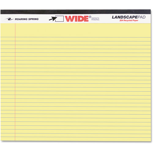 Roaring Spring Landscape Format Writing Pad, College Ruled, 11 x 9-1/2, Canary, 40 Sheets/Pad