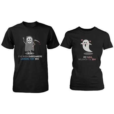 Halloween Matching Couple Shirts - Cute Skeleton and Ghost Couples (Famous Black And White Couples For Halloween)