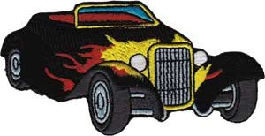 Hot Rod with Flames Iron On Gifts New Licensed p-3592 Automoblies Patch
