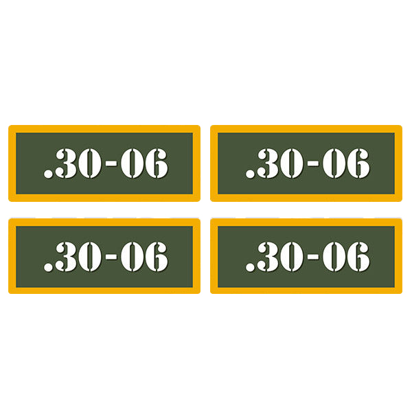".30-06 Ammo Can 4 Pack 3"" Olive OD Sticker Gun Ammunition Box Case Decal"