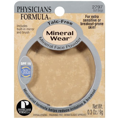 Phyicians Formula Buff Beige Talc-Free Spf 16 W/Built-In Mirror & Brush Mineral Face Powder .3 Oz