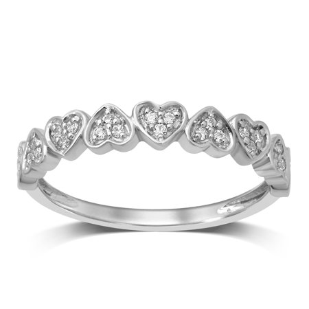 Diamond Jewel 10K White Gold 1/8 Cttw Diamond Heart Shape Anniversary Ring