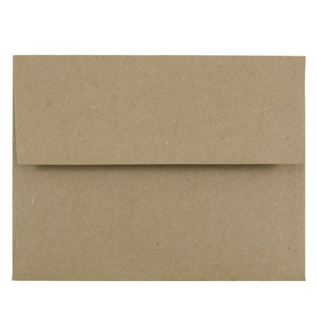 JAM Paper A2 Invitation Envelopes, 4 3/8 x 5 3/4, Brown Kraft Recycled, 50/pack