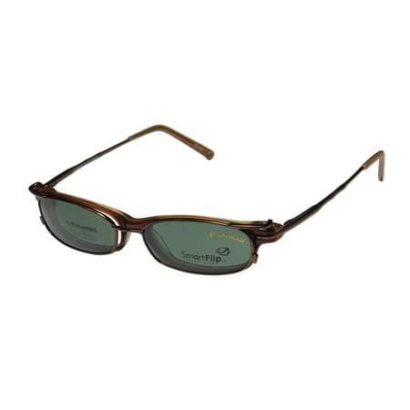 New Smartflip 420 Mens/Womens Designer Full-Rim Brown Polarized Lenses Made By Polaroid Sleek Frame Demo Lenses 50-16-145 Sunglass Lens Clip-Ons Flexible Hinges Eyeglasses/Eye (Custom Made Clip On Sunglasses)