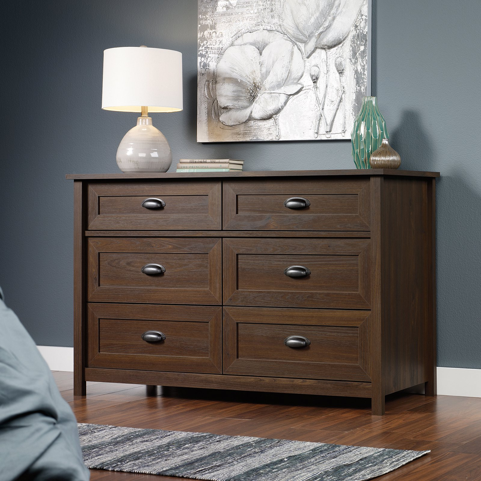 County Line 6 Drawer Dresser - Rum Walnut