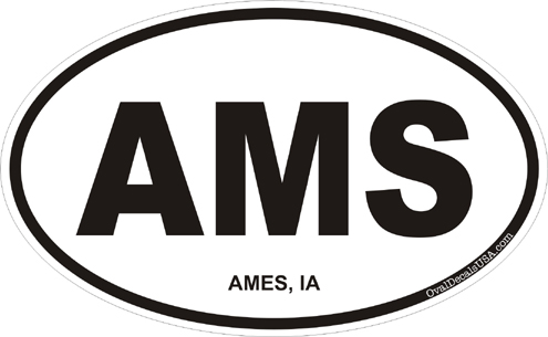 3.8 Inch Ames Iowa Oval Decal by MilitaryBest