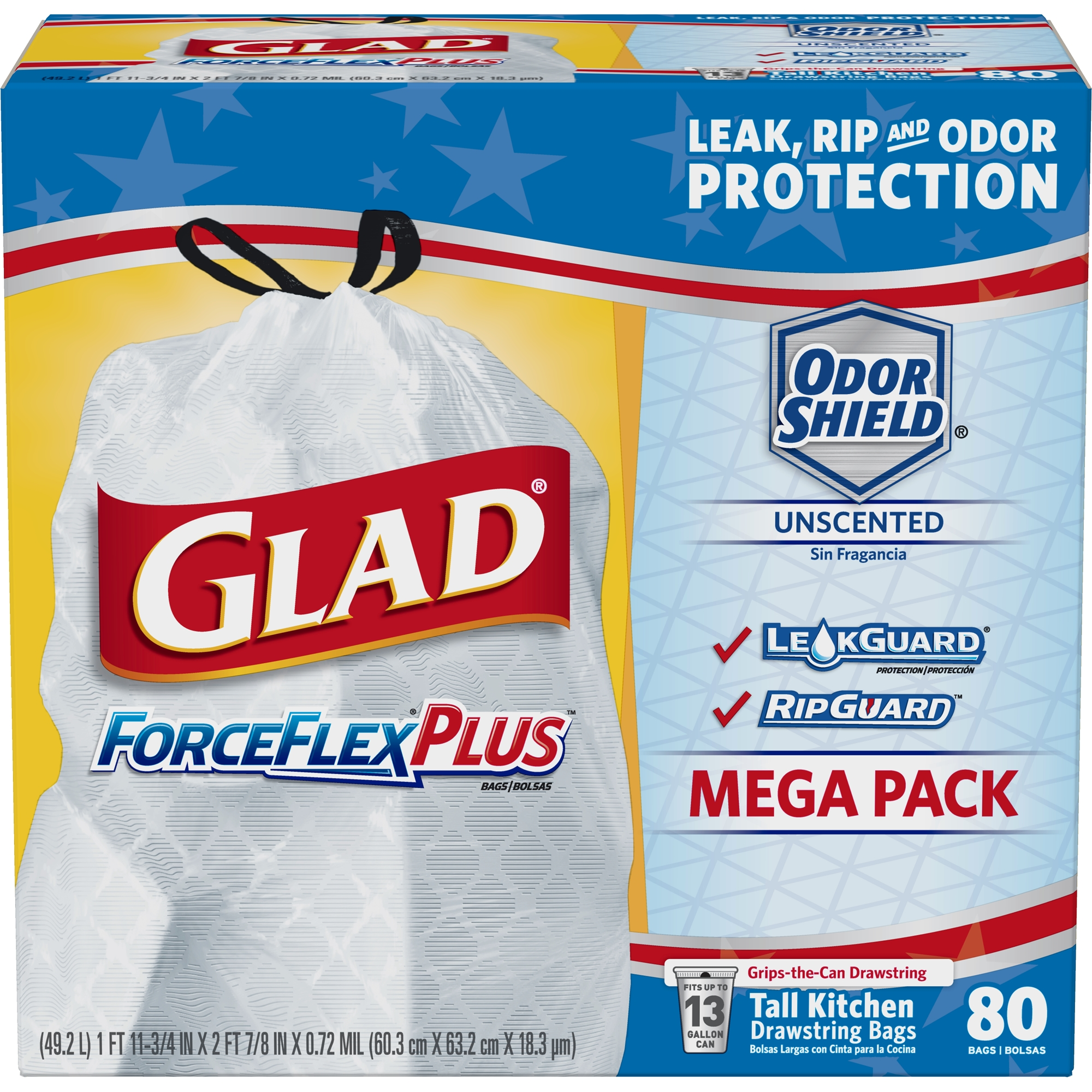 Glad ForceFlexPlus Tall Kitchen Drawstring Trash Bags - Unscented ...