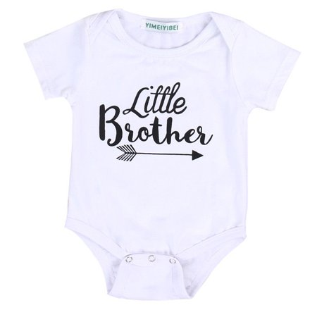 One opening Newborn Baby Boys Girls Jumpsuit Little Brother Romper Big Sister Matching T-shirt Tops Clothes Outfits