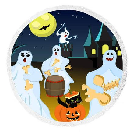 ykcg halloween party fantasy ghost moon round beach towel beach mats beach shawl beach blanket with