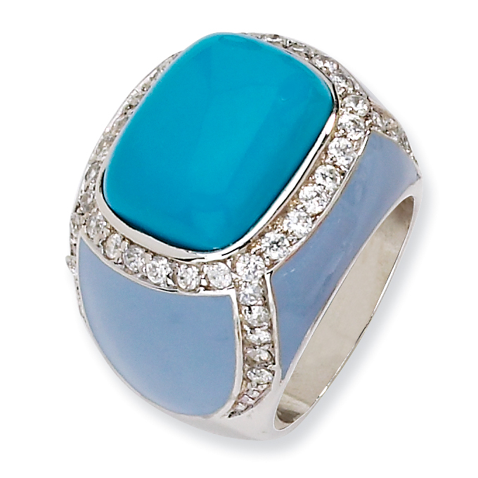 Sterling Silver Enameled Simulated Turquoise & CZ Ring Size 6
