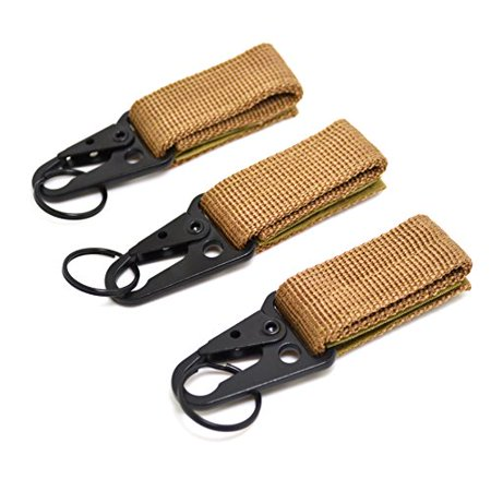Tactical Ribbon Buckle Keychain Carabiners Nylon Belt Velcro Gear Keeper Quick Release for Molle Bags Webbing Attachment Strap Outdoor Sport Hiking Climbing Camping Hook Brown 3 Packs