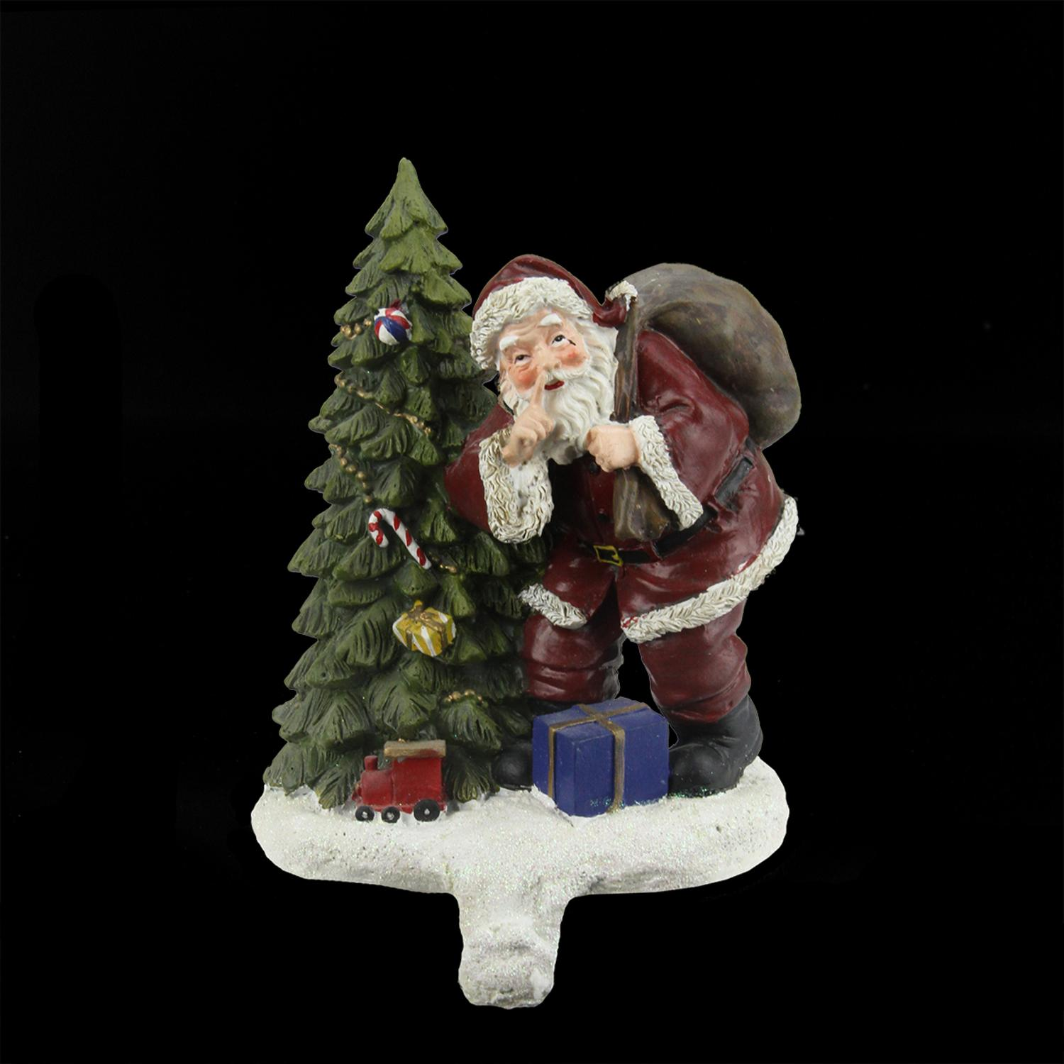 "6.25"" Santa Claus and Tree with Holiday Gifts Christmas Stocking Holder"
