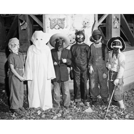 Group of children wearing Halloween costumes Stretched Canvas -  (18 x 24)