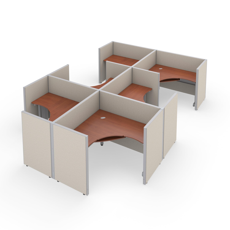 "OFM RiZe Series 47"" x 60"" 1-Unit Full Vinyl Panels Workstation Kit, 2 x 3 Configuration, Beige with Cherry Desk"