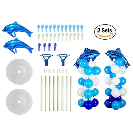 2 Sets Balloon Column Stand Base and Pole Kit - Blue Ocean Dolphins Theme - 5 Feet Height Balloon Towers for Birthday Wedding Party - 1 Birthday Theme