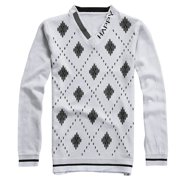 Men Fashion V Neckline Letters Detail Pullover Leisure Fall Shirt Light Gray XS