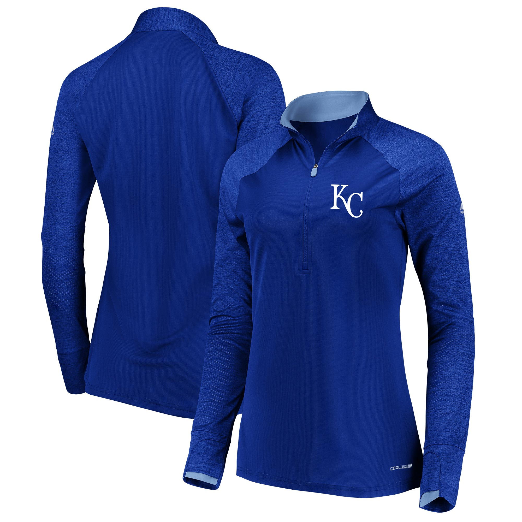 Kansas City Royals Majestic Women's Extremely Clear Cool Base Raglan 1 2-Zip Jacket Royal by MAJESTIC LSG