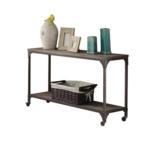 ACME Gorden Sofa Table, Weathered Oak & Antique Silver by Acme Furniture