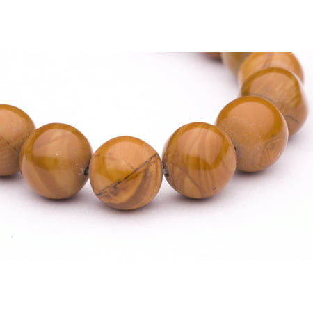 - Round - Shaped Wood Grain Jasper Beads Semi Precious Gemstones Size: 10x10mm Crystal Energy Stone Healing Power for Jewelry Making