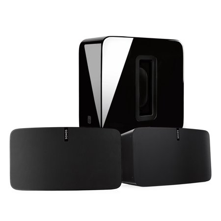 Sonos PLAY:5 Speaker (Pair) and SUB Wireless Subwoofer Black Kit