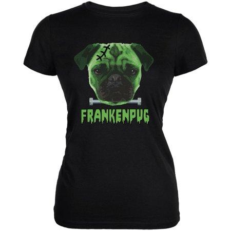 Halloween Franken Pug Dog Black Juniors Soft T-Shirt](Pics Of Halloween Pugs)