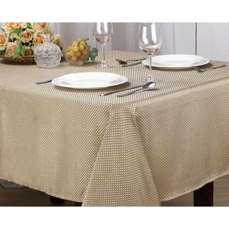Monarch Collection Textured Jacquard Fabric Tablecloth, Edith [Gold, 52X70]