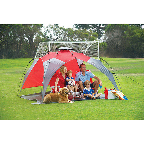 """Lightspeed Quick 95"""" x 95"""" x 59"""" Canopy with Side Wall, Red/Gray"""