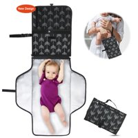 Baby Portable Changing Pad with Pockets | Travel Mat Station Diaper Bag for Infants and Newborns | Stroller Strap, Carry Handle | Holds Diapers & Wipes | Entirely Padded, Detachable and Wipeable Mat