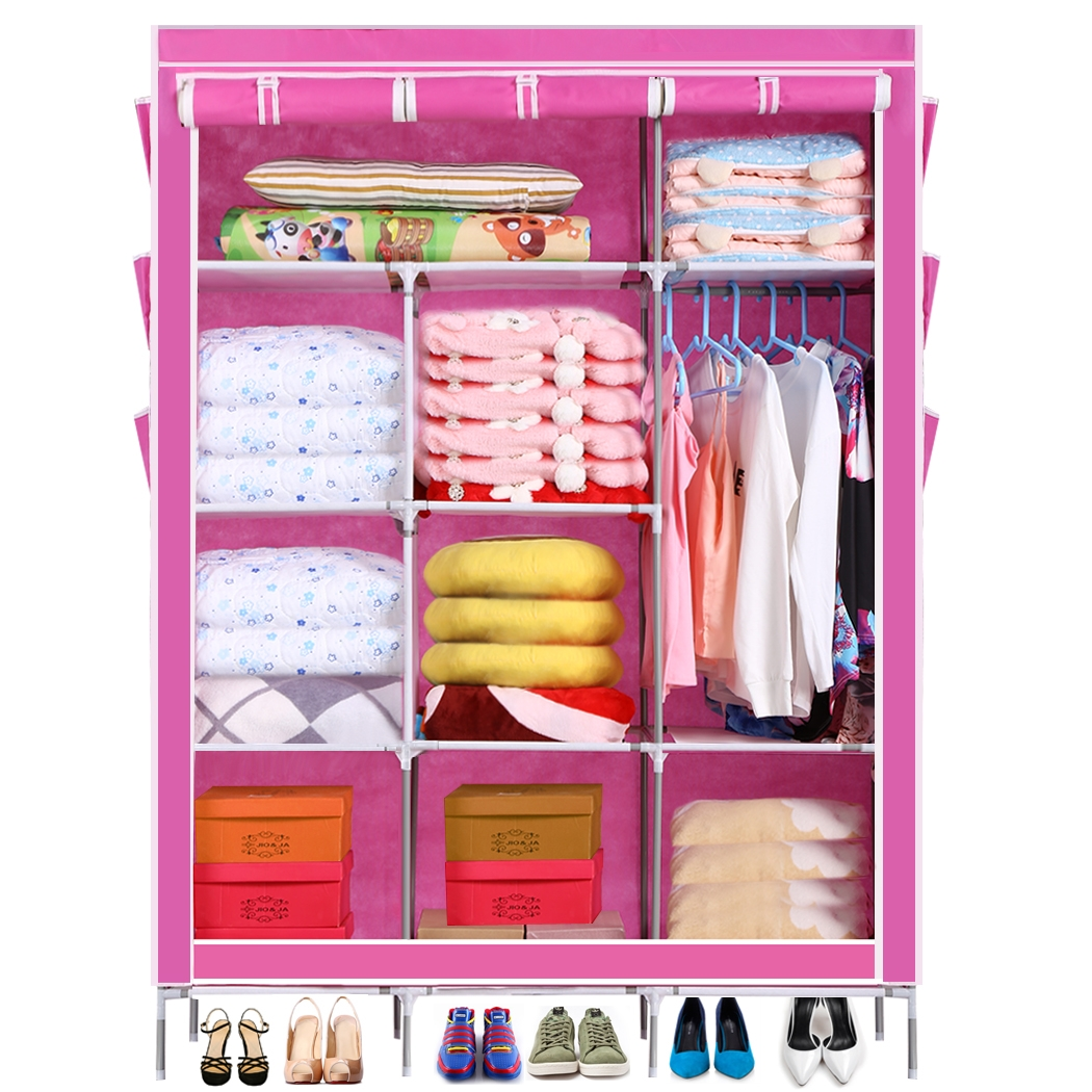 Homdox Portable Wardrobe Closet Clothes Rack Storage Organizer With Shelves Cover Pockets