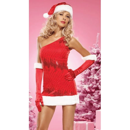 Santa Outfit Women (Sexy Christmas Adult Womens Costumes Red Sequin Santa Holiday Dress Costume Theme Party)