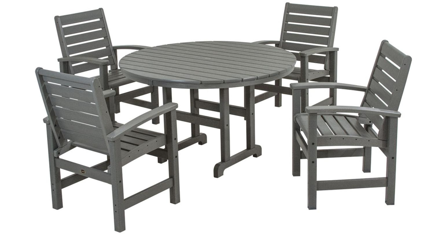 Outdoor Recycled Earth-Friendly 5-Piece Patio Dining Room Set Slate Gray by Eco-Friendly Furnishings