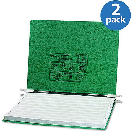 ACCO Pressboard Hanging Data Binder, Dark Green, 2 Pack