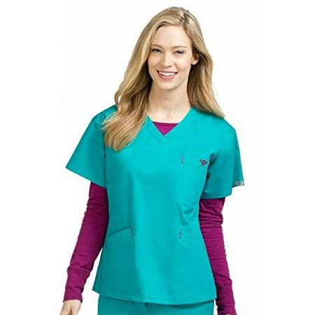 Real Sangria - Med Couture Women's V-Neck Signature 3 Pocket Scrub Top, Real Teal/Sangria, Medium