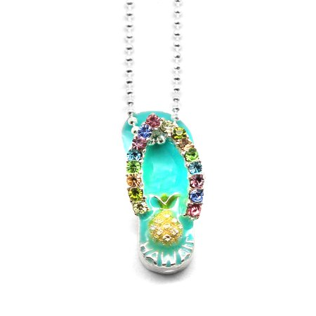 Aqua Titanium Necklace - Hawaii Tropical Sparkling Flip Flop with Pineapple Necklace with Chain in Aqua