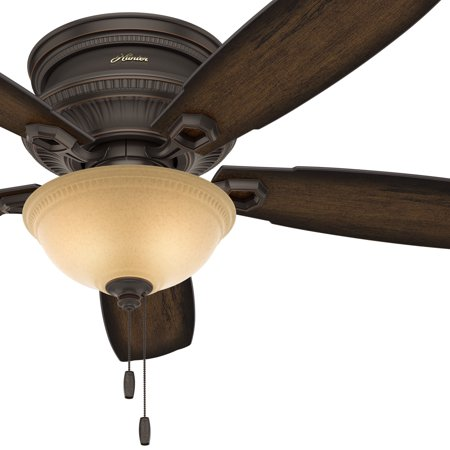 Hunter traditional 52 low profile ceiling fan in onyx bengal with hunter traditional 52 low profile ceiling fan in onyx bengal with led bowl light kit aloadofball Images