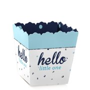 Hello Little One - Blue and Silver - Party Mini Favor Boxes - Baby Shower or 1st Birthday Party Treat Candy Boxes - Set